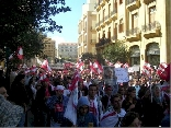 Tens of thousands of protesters gather in Beiruts Martyrs Square.